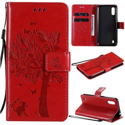 Embossing Butterfly Tree Leather Wallet Case for Samsung Galaxy M01 - Red