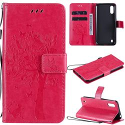 Embossing Butterfly Tree Leather Wallet Case for Samsung Galaxy M01 - Rose