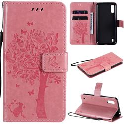 Embossing Butterfly Tree Leather Wallet Case for Samsung Galaxy M01 - Pink