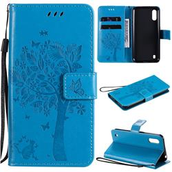 Embossing Butterfly Tree Leather Wallet Case for Samsung Galaxy M01 - Blue