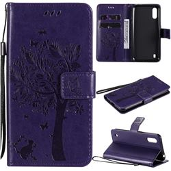 Embossing Butterfly Tree Leather Wallet Case for Samsung Galaxy M01 - Purple