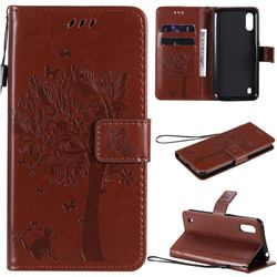 Embossing Butterfly Tree Leather Wallet Case for Samsung Galaxy M01 - Coffee