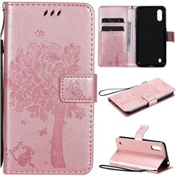 Embossing Butterfly Tree Leather Wallet Case for Samsung Galaxy M01 - Rose Pink