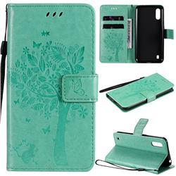 Embossing Butterfly Tree Leather Wallet Case for Samsung Galaxy M01 - Cyan