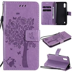 Embossing Butterfly Tree Leather Wallet Case for Samsung Galaxy M01 - Violet