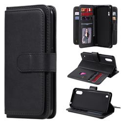 Multi-function Ten Card Slots and Photo Frame PU Leather Wallet Phone Case Cover for Samsung Galaxy M01 - Black