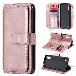 Multi-function Ten Card Slots and Photo Frame PU Leather Wallet Phone Case Cover for Samsung Galaxy M01 - Rose Gold