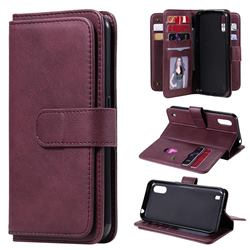 Multi-function Ten Card Slots and Photo Frame PU Leather Wallet Phone Case Cover for Samsung Galaxy M01 - Claret