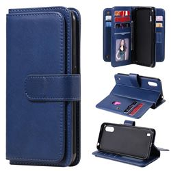 Multi-function Ten Card Slots and Photo Frame PU Leather Wallet Phone Case Cover for Samsung Galaxy M01 - Dark Blue