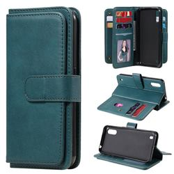 Multi-function Ten Card Slots and Photo Frame PU Leather Wallet Phone Case Cover for Samsung Galaxy M01 - Dark Green