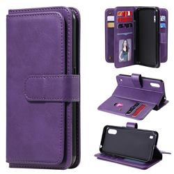 Multi-function Ten Card Slots and Photo Frame PU Leather Wallet Phone Case Cover for Samsung Galaxy M01 - Violet
