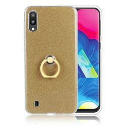 Luxury Soft TPU Glitter Back Ring Cover with 360 Rotate Finger Holder Buckle for Samsung Galaxy M10 - Golden