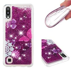 Purple Flower Butterfly Dynamic Liquid Glitter Quicksand Soft TPU Case for Samsung Galaxy M10