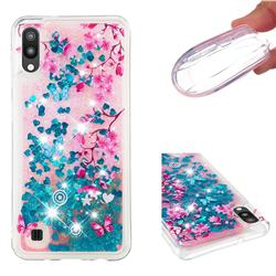 Blue Plum Blossom Dynamic Liquid Glitter Quicksand Soft TPU Case for Samsung Galaxy M10