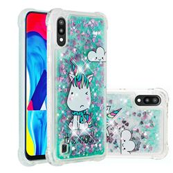 Tiny Unicorn Dynamic Liquid Glitter Sand Quicksand Star TPU Case for Samsung Galaxy M10