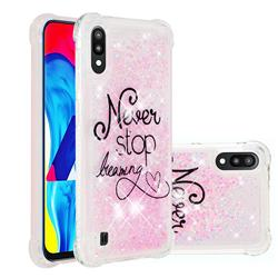 Never Stop Dreaming Dynamic Liquid Glitter Sand Quicksand Star TPU Case for Samsung Galaxy M10