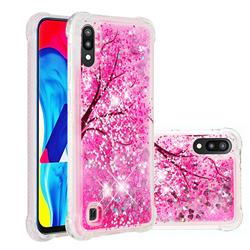 Pink Cherry Blossom Dynamic Liquid Glitter Sand Quicksand Star TPU Case for Samsung Galaxy M10