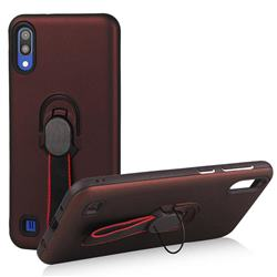 Raytheon Multi-function Ribbon Stand Back Cover for Samsung Galaxy M10 - Wine Red