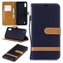Jeans Cowboy Denim Leather Wallet Case for Samsung Galaxy M10 - Black
