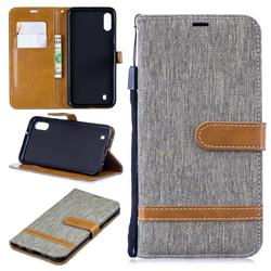 Jeans Cowboy Denim Leather Wallet Case for Samsung Galaxy M10 - Gray