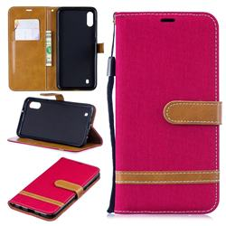 Jeans Cowboy Denim Leather Wallet Case for Samsung Galaxy M10 - Red