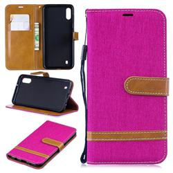 Jeans Cowboy Denim Leather Wallet Case for Samsung Galaxy M10 - Rose
