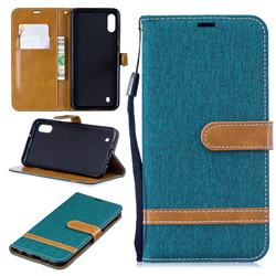 Jeans Cowboy Denim Leather Wallet Case for Samsung Galaxy M10 - Green