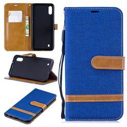 Jeans Cowboy Denim Leather Wallet Case for Samsung Galaxy M10 - Sapphire