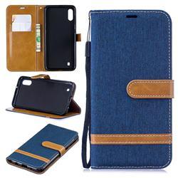 Jeans Cowboy Denim Leather Wallet Case for Samsung Galaxy M10 - Dark Blue