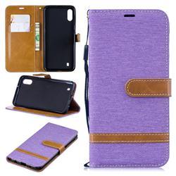 Jeans Cowboy Denim Leather Wallet Case for Samsung Galaxy M10 - Purple