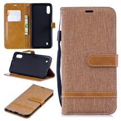 Jeans Cowboy Denim Leather Wallet Case for Samsung Galaxy M10 - Brown
