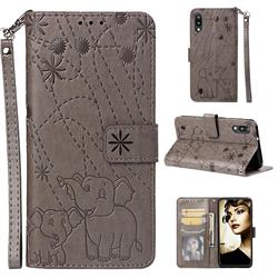 Embossing Fireworks Elephant Leather Wallet Case for Samsung Galaxy M10 - Gray