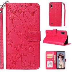 Embossing Fireworks Elephant Leather Wallet Case for Samsung Galaxy M10 - Red