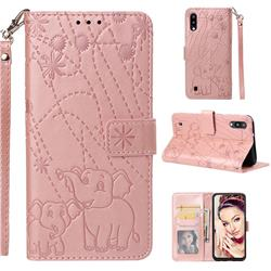 Embossing Fireworks Elephant Leather Wallet Case for Samsung Galaxy M10 - Rose Gold