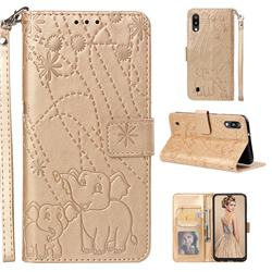Embossing Fireworks Elephant Leather Wallet Case for Samsung Galaxy M10 - Golden