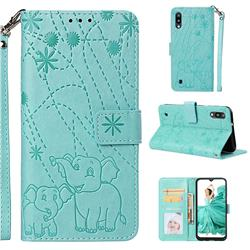 Embossing Fireworks Elephant Leather Wallet Case for Samsung Galaxy M10 - Green