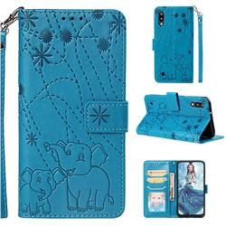 Embossing Fireworks Elephant Leather Wallet Case for Samsung Galaxy M10 - Blue