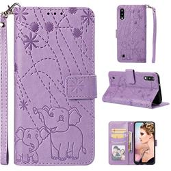 Embossing Fireworks Elephant Leather Wallet Case for Samsung Galaxy M10 - Purple