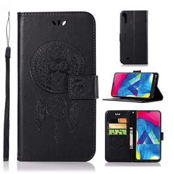 Intricate Embossing Owl Campanula Leather Wallet Case for Samsung Galaxy M10 - Black