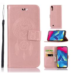 Intricate Embossing Owl Campanula Leather Wallet Case for Samsung Galaxy M10 - Rose Gold