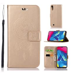Intricate Embossing Owl Campanula Leather Wallet Case for Samsung Galaxy M10 - Champagne