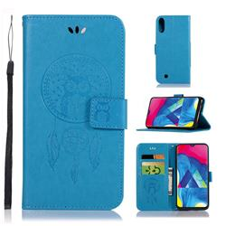 Intricate Embossing Owl Campanula Leather Wallet Case for Samsung Galaxy M10 - Blue