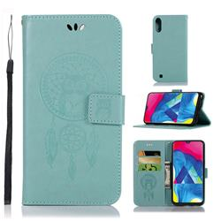 Intricate Embossing Owl Campanula Leather Wallet Case for Samsung Galaxy M10 - Green