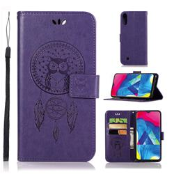Intricate Embossing Owl Campanula Leather Wallet Case for Samsung Galaxy M10 - Purple