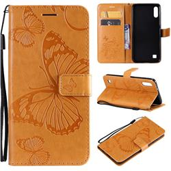 Embossing 3D Butterfly Leather Wallet Case for Samsung Galaxy M10 - Yellow