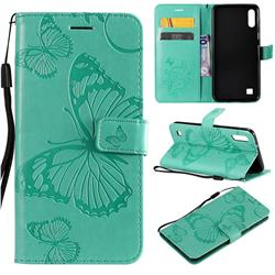 Embossing 3D Butterfly Leather Wallet Case for Samsung Galaxy M10 - Green
