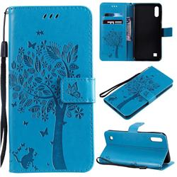 Embossing Butterfly Tree Leather Wallet Case for Samsung Galaxy M10 - Blue