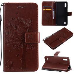Embossing Butterfly Tree Leather Wallet Case for Samsung Galaxy M10 - Coffee