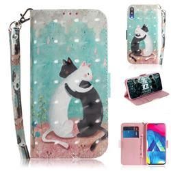 Black and White Cat 3D Painted Leather Wallet Phone Case for Samsung Galaxy M10