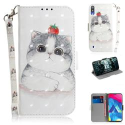 Cute Tomato Cat 3D Painted Leather Wallet Phone Case for Samsung Galaxy M10